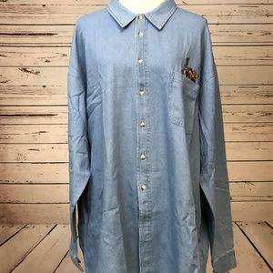 Looney Tunes Vintage 2XL Denim Embroidered Shirt